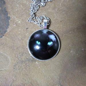1518 Black cat face pendant necklace Halloween